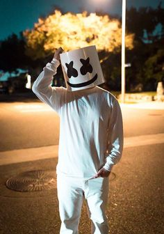 Marshmello DJ Costume Head Halloween LED Mellogang Marshmallow Mask EDM