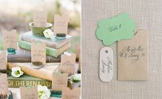 escort cards with floral frogs | @calderclark & A Bryan Photo