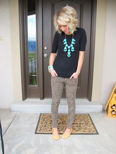 My Own Sweet Scoops: Leopard Pants, Black Shirt, and Bubble Statement Necklace.