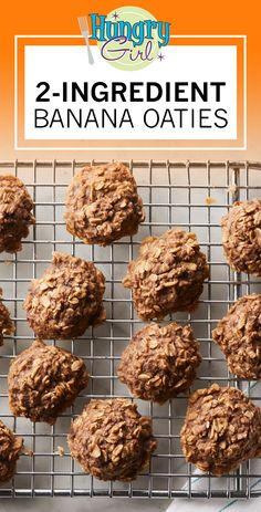 2-Ingredient Healthy Banana Oat Cookies Recipe | Hungry Girl Ww Desserts, Weight Watchers Desserts, Dessert Recipes, Diabetic Desserts, Diabetic Recipes, Banana Oat Cookies, Banana Oats, Oatmeal Cookies, Healthy Cookies