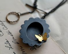 oxidized sterling shadowbox pendant and brooch necklace with golden butterfly #Jewellery