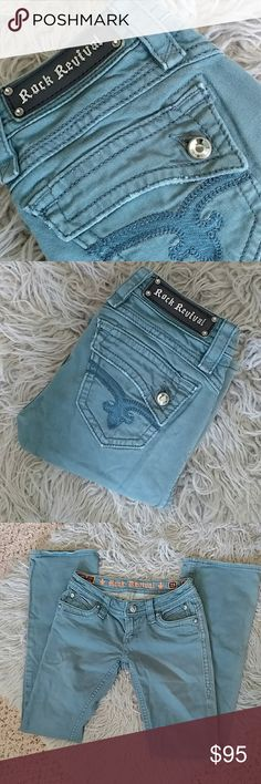 """Teal """"Johanna Boot"""" Rock Revivals Such a pretty color, like a sea-foam teal(last picture is the best depiction of color) these jeans are in like-new condition. Sadly they are now too small for me :(  Waist measures approx. 14"""" across Inseam 33"""" Rise 7"""" Rock Revival Jeans Boot Cut"""
