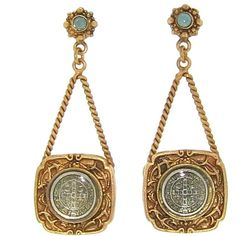 Virgins, Saints & Angels Large San Benito Square Earrings | Gold |... ($147) ❤ liked on Polyvore featuring jewelry, earrings, accessories, gold medallion, yellow gold earrings, antique gold earrings, peace sign earrings and gold cross earrings