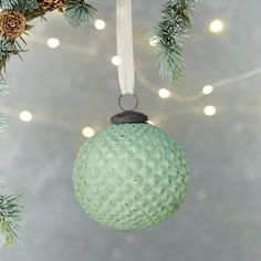 """This geometric glass globe is finished with an aged, mercury patina.- Mercury glass, metal- Wipe clean with dry cloth- Indoor use only- Hanger: 0.6""""- Imported4.8""""H, 4.25"""" diameter"""