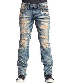 Affliction Men's Ace Fallen Straight-Fit Trevorton-Wash Destroyed Jeans