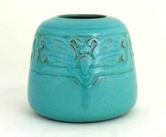 California Faience, Squat tapered vase, incised moth design, bright Persian Blue glaze, ca. 1915-1933, 4 1/4″ high (CF Fig. 2.59).  Bottom marked, the only example known in bright glaze