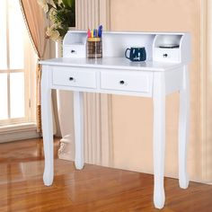 Makeup Vanity Table With Drawers Bedroom Dressing Table Desk White MDF New      #MakeupVanityTable #Traditional