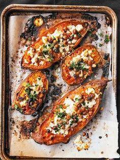 sweet potato recipes Chevre and Chickpea Stuffed Sweet Potato recipe. Simple, healthy, and so satisfyingChevre and Chickpea Stuffed Sweet Potato recipe. Simple, healthy, and so satisfying Sweet Potato Recipes Healthy, Vegetarian Recipes, Cooking Recipes, Healthy Recipes, Vegetable Recipes, Healthy Potatoes, Ovo Vegetarian, Paleo Meals, Protein Recipes
