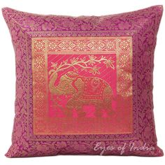 "16"" BROCADE THROW PILLOW TOSS CUSHION Ethnic Indian Decoration India Decor"