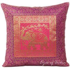 "16"" BROCADE THROW PILLOW TOSS CUSHION Ethnic Indian Decoration India Decor"