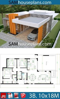 House Plans 1018 with 3 bedrooms Full Plans Sam House Plans Model House Plan, My House Plans, House Layout Plans, Family House Plans, Bedroom House Plans, House Layouts, Modern Bungalow House Design, Simple House Design, House Construction Plan