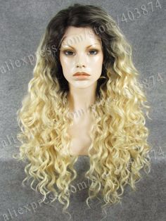 48.00$  Buy here - http://ai4yx.worlditems.win/all/product.php?id=32451193840 - Fresh Drag Queens Wig Synthetic Wigs Sexy Ombre Dark Root to Blonde Small Curly Synthetic Wig