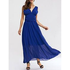 Attractive Women's Open Back High Waist Chiffon Dress