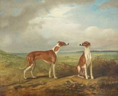 A Pair of Greyhounds, 1824, by John E. Ferneley I