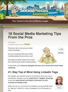 18 Social Media Marketing Tips From the Pros   Social Media Examiner. #SocialMediaMarketing #SocialMedia #Marketing #DigitalMarketing #Marketing #SoMe #SMM #SMTips