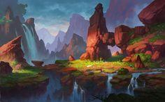 ArtStation - valley~, Dan Zhao ★ Find more at… Environment Painting, Environment Concept Art, Environment Design, Landscape Concept, Fantasy Landscape, Landscape Art, Animation Background, Art Background, Fantasy Kunst