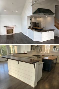 bar-top, kitchen island top, live edge mantle by Sallie Plumley Studio at Private Residence, White Stone Kitchen Island Remodel Ideas, Round Kitchen Island, Kitchen Bar Counter, Kitchen Island With Stove, Kitchen Dining Combo, Kitchen Peninsula, Kitchen Tops, Kitchen Redo, Kitchen Remodel