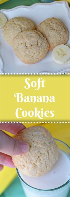 Soft Banana Cookies will become your favorite thing to make with overripe . - food :) the way to my heart -These Soft Banana Cookies will become your favorite thing to make with overripe . - food :) the way to my heart - Healthy Banana Recipes, Banana Dessert Recipes, Easy Cookie Recipes, Baking Recipes, Sweet Recipes, Snack Recipes, Banana Recipes For Toddlers, Baby Recipes, Brownie Cookies
