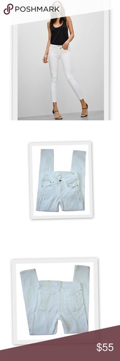 """Rag & Bone Skinny Jeans in Bright White Rag & Bone Skinny in Bright White.  Super skinny from hip to ankle.  Short inseam, cropped above the ankle. Five pocket style with a fly front zipper and engraved button at the waist.  There is rippling as shown in the last photo, but it disappears when you put them on.  As shown in the bottom photo, when lightly stretched, the ripples disappear.   43% viscose 33% cotton 17% tencil 5% polyester 2% elastane  Made in USA  Marked size 25 Waistband 27""""…"""