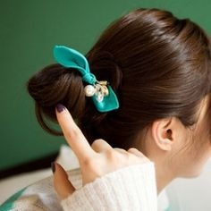 Elegant Love Pearl Crystal Silk Bow Headband Hair Accessory