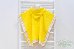 Hooded Baby Poncho Towel  Handmade Elephant/yellow Hooded