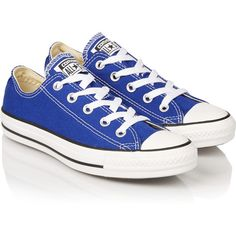 Converse Chuck Taylor canvas sneakers ($46) ❤ liked on Polyvore featuring shoes, sneakers, converse, plimsoll sneakers, canvas lace up shoes, lacing sneakers, canvas shoes and royal blue sneakers