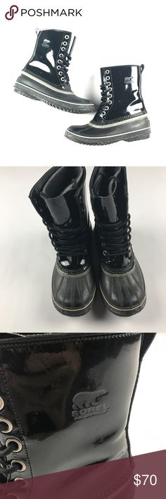 Sorel Women's 8 Patent Leather Winter Boots Black The size is 8. No major flaws Sorel Shoes Winter & Rain Boots