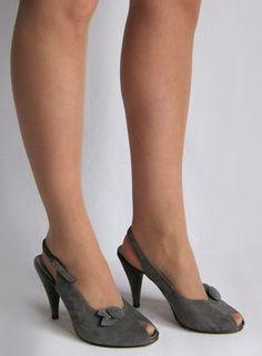 Vintage 1970s Grey Suede Peep Toe Slingback Platform Heels available to buy online at Virtual Vintage Clothing £24