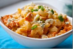 Buffalo Chicken Macaroni and Blue Cheese. I bet this would be great with cauliflower subbed for pasta.