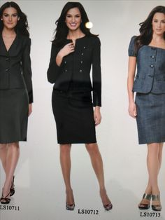 Black feminine suit with military button details and pencil skirt