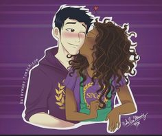 Frazel, best shipp ever ^-^// The Heroes of Olympus Percy Jackson Fan Art, Percy Jackson Fandom, Hazel And Frank, Interracial Art, Daughter Of Poseidon, Frank Zhang, Black Love Art, Couple Cartoon, Cute Couples Goals