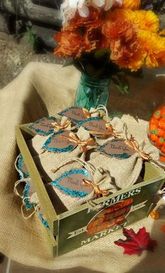Burlap favor bags at a pumpkin baby shower party! See more party ideas at CatchMyParty.com!