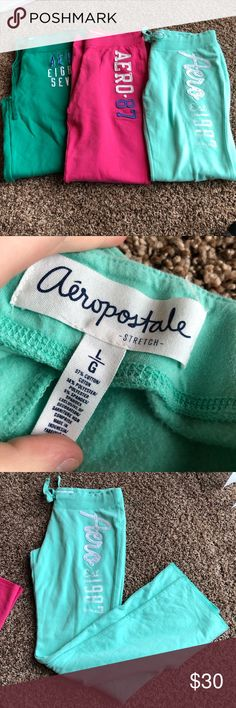Set of 3 BRAND NEW Aeropostale Sweat Pants 3 pairs of brand new Aeropostale sweat pants all in size large. I cut the tags off but they have never been washed or worn and are in perfect condition! I would prefer to sell them as a set, but let me know if you only want one and we can figure it out. Aeropostale Pants Track Pants & Joggers