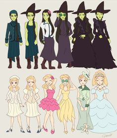 Glinda and Elphaba's Outfits from the musical, Wicked.:
