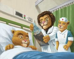 Lion Cub In Hospital-digital cartoon art. This illustration depicts the events of an animal hospital. A lion cub is in a hospital bed, while a lion doctor examines the patients notes. A lioness nurse looks on. Available as a card and print. #cub #lions #cute #hospital #cartoon #health #painting #funny