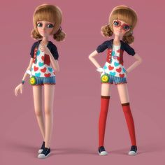 3a168f47ead3 cartoon girl rigged 3d model rigged obj fbx ma mb mtl 1