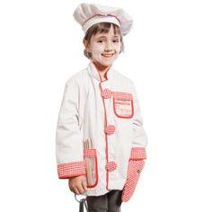 Disfraz de chef talla única con el que los niños podrán jugar a ser cocineros y a preparar platos ¡para chuparse los dedos!