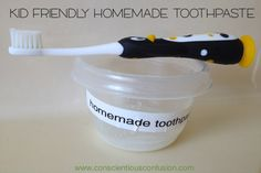 "Kid-friendly Homemade toothpaste - approved by kids that are accustomed to the ""fake"" fruit flavors!"