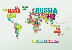 The typographic world map – the world in country names - Traveller Of World The Words, Spa Me, Word Map, Design3000, Bizarre Facts, Country Names, Design Graphique, Favim, Coven