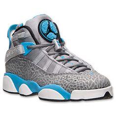Boys' Grade School Jordan 6 Rings Basketball Shoes| FinishLine.com | Wolf Grey/Black/Dark Powder Blue