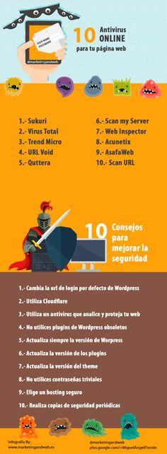10 antivirus online gratis para analizar tu página web o Blog y 10 consejos para mejorar su seguridad #Infografia de @marketingandweb