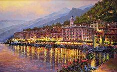 Bellagio Twilight, Hand Embellished Giclee on Canvas by Sung Sam Park Park Art, Korean Artist, Cool Art, Awesome Art, Impressionism, Twilight, Coastal, Singing, Scenery