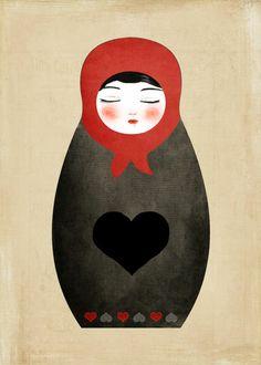 Matryoshka paperdoll Heart print by munieca on Etsy Matryoshka Doll, Diy Tattoo, Heart Art, Paper Decorations, Illustrations, Sell Your Art, Paper Dolls, Folk Art, Creations