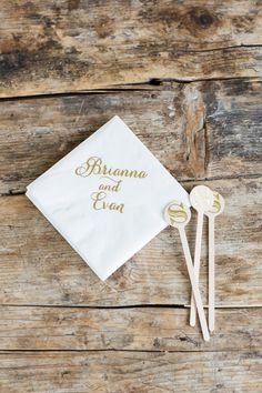 Name engraved wedding napkins and stirrers: http://www.stylemepretty.com/new-york-weddings/garrison/2016/08/22/neutral-classic-spring-wedding/ Photography: Kelsey Combe - http://kelseycombe.com/#!/HOME
