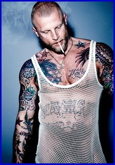 tank top, mesh, bare chest, toughs, bad boys, tats, shaved, scruff, hot men, kink