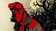 Mike Mignola Draws the Poster For the New 'Hellboy' Movie. Short lines create texture in Hellboy. Iconic Characters, Comic Book Characters, Comic Books, Injustice 2, Mortal Kombat, Hellboy Movie, Broken Film, Mike Mignola Art, Film Structure