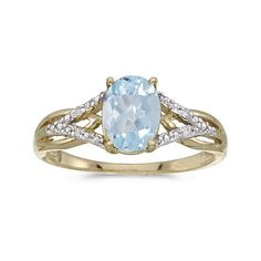 This 10k yellow gold oval aquamarine and diamond ring features a 8x6 mm genuine natural aquamarine with a 1.10 ct total weight. (Size 11)