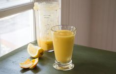 Orange mango smoothie with lime and ginger.