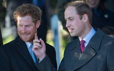 Prince William touching Harry's beard.