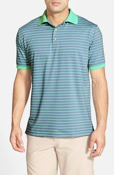 Peter Millar 'Luau Stripe' Moisture Wicking Stretch Jersey Polo available at #Nordstrom